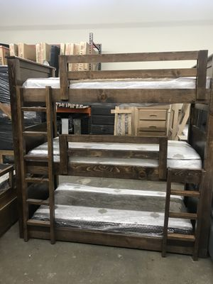 Triple Twin Bunk Bed Solid Wood with mattresses for Sale in Paramount, CA