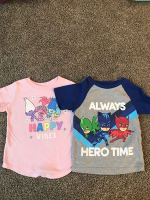 PJ masks and trolls girls shirts size 2T for Sale in Ontario, CA