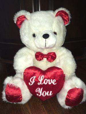 """I Love You"" red/white teddy bear- 15"" for Sale in Arlington, VA"