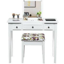 Costway Vanity Dressing Table Set w/Flip Top Mirror 3 Drawers 7 Compartments Makeup Desk - White for Sale in Norwalk,  CA