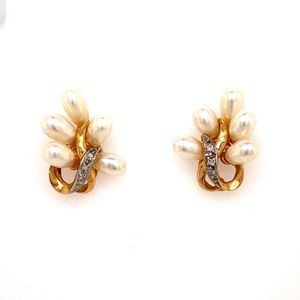 14k Pearls and Diamonds Earrings for Sale in Woodbridge, VA