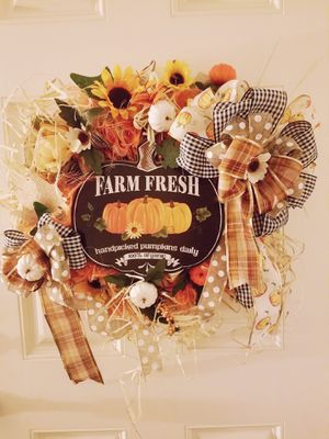 Handmade fall buffalo check large wreath for Sale in Garden Grove, CA