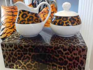 3 piece Cream and Sugar Set. /Bonus Leopard Tea Box. for Sale in Pembroke Pines, FL