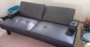 Black Leather Futon Couch for Sale in Orient, OH