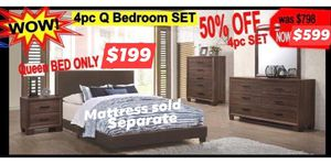 4 PIECES QUEEN BEDROOM SET $599 included bed frame dresser mirror and one night stand $199 Queen bed frame only Mattress sold separate for Sale in Chino, CA