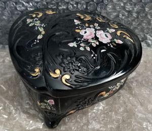 Fenton Glass Black Heart Trinket Box Hand Painted Roses Signed for Sale in Spring Valley, CA