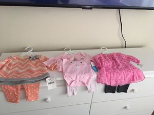 $25. 0-3 months Beautiful baby girl outfits $10 each outfit or $25 for all 3 brand new with tag for Sale in Washington, DC