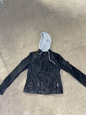 Leather jacket with grey hoodie for Sale in Atlanta, GA