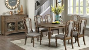 Beautiful 7 piece Dining set with 6 Tufted Cushioned Chairs SERVER SOLD SEPARATELY delivery available for Sale in Riverside, CA