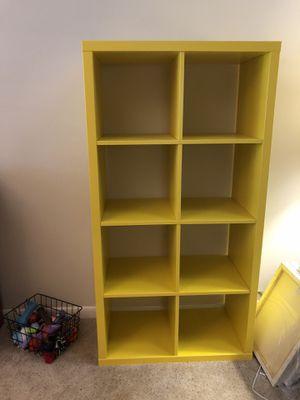 Yellow kallax ikea shelf for Sale in San Antonio, TX
