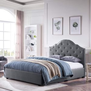 Christopher Knight Home Gentry Queen-Size Bed Frame Fully-Upholstered Button-Tufted Light Grey for Sale in Reynoldsburg, OH