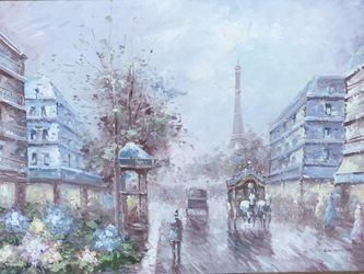 Beautiful Paris Scene Original Oil On Canvas Painted By Artist C.H. Young!Beautifully Framed 41.5x29.5 for Sale in Fort Lauderdale,  FL