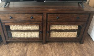 Pottery Barn Benchwright in Rustic Mahogany - Large TV Stand, Coffee Table, and End Table $2,000 for Sale in Trinity, FL