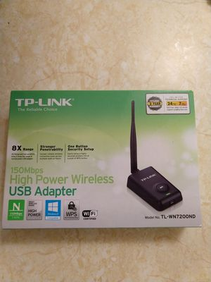 TP-Link TL-WN7200ND 150Mbps High Power Wireless USB Adapter Ver. 1.2 for Sale in Oakland, CA