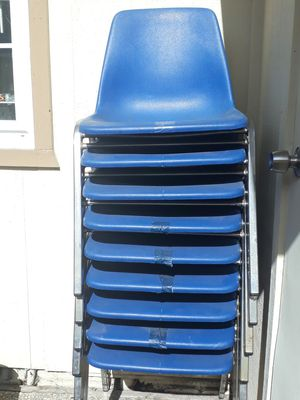 Blue stackable thick plastic chairs -9 total for Sale in Fremont, CA