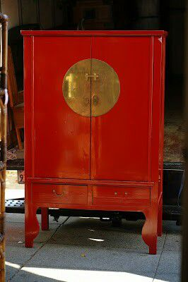 """#94666 Asian Red Lacquer 24"""" x 69"""" x 43.5"""" Wide Armoire for Sale in Piedmont, CA"""