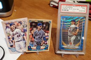 MINT Jacob deGrom BLUE WAVE refractor PLUS 2 Gypsy Queen cards for Sale in Alexandria, VA
