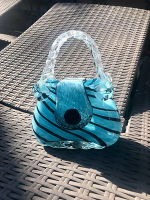Murano Style Art Glass Handbag Art Vase Light Blue Swirl and Clear With Handles for Sale in Lakewood, CA
