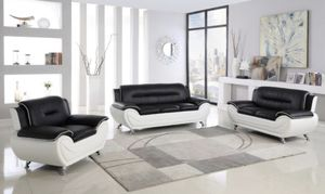 Brand new living room set black and white leather couch for Sale in Dallas, TX