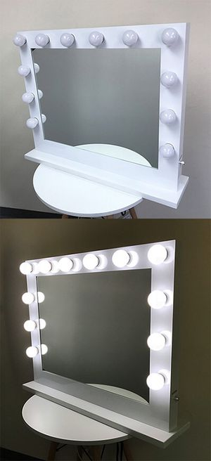 "(New in box) $250 X-Large Vanity Mirror w/ 12 Dimmable LED Light Bulbs, Hollywood Beauty Makeup Power Outlet 32x26"" for Sale in Whittier, CA"