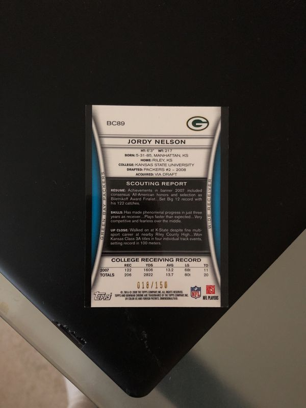 Jordy Nelson SIGNED rookie card 18/150 made in world