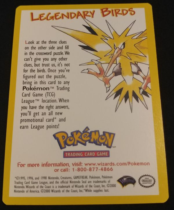 Pokemon The Movie 2000 Legendary Bird Promo Card - Zapdos