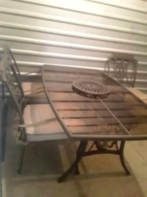 1970's Vintage Glass Top Table Mid-Century Pinstriped Distressed Metal for Sale in Guysville, OH