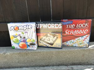 Board Game 3-Pack - Upwords / Scrabble / Stomple - Perfect for friends, families and kids 3+! for Sale in Los Angeles, CA