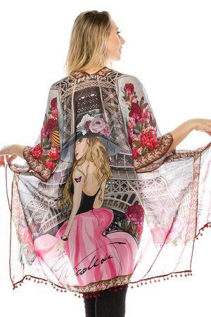 """Nicole Lee """"Vivian Dream Paris"""" Kimono for Sale in Pompano Beach, FL"""