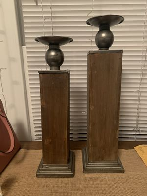 Set of 2 Wooden Candle Stands for Sale in Ruston, LA