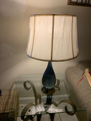 Blue glass lamps with brand new shads still still had plastic on shades $40 for pairs for Sale in Plantation, FL