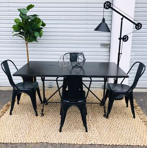 Restoration Hardware Zinc Dining table with 4 metal chairs for Sale in San Diego, CA