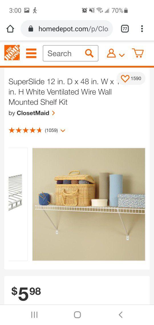 Wire Closet Shelf 4ft X 12in