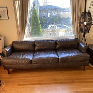 Genuine leather brown MCM Style Couch for Sale in Tacoma, WA