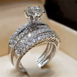 2 PC White Topaz Engagement Wedding Ring Set SZ 5/6/7/8/9/10/11/ 12 * See My Other 800 Items* for Sale in Palm Beach Gardens,  FL