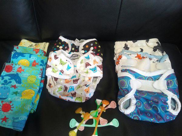 Newborn Cloth Diaper prefolds, covers, wipes, bag