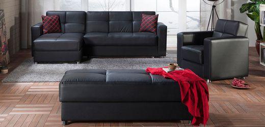 ELEGANT 3 pcs sectional living room set, Colors: SANTA GLORY BLACK for Sale in Delair,  NJ