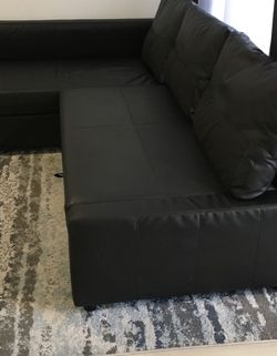 Sleeper sectional, 3 seat w/storage, black for Sale in Miami,  FL