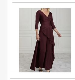 New! Never worn! US Size 12 But runs Small. Burgundy Evening Dress /pants With Elegant Drape In Back. for Sale in Huntington Beach,  CA
