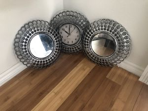Two wall mirrors and clock for Sale in Los Angeles, CA