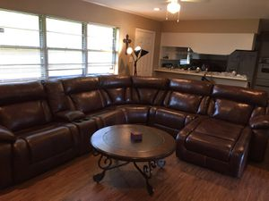 Genuine leather couches, dining set, kitchen appliances and side tables for Sale in Baytown, TX