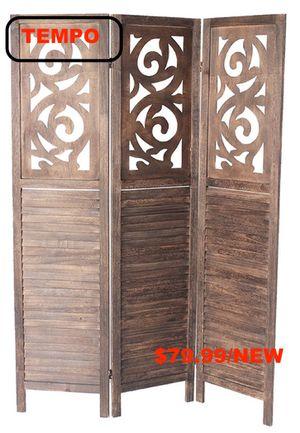 Rustic Shutter 3-Panel Room Divider, Dark Brown for Sale in Westminster, CA
