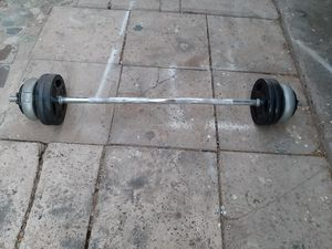 Curl Bar W/ Collars & 63.8lb In Weights [Read Description] for Sale in Phoenix, AZ