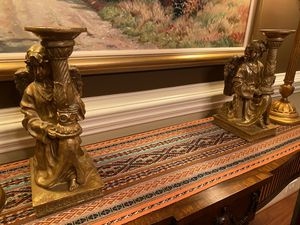 Pair of Shimmering Gold Ornate Candle Holders for Sale in Charlotte, NC