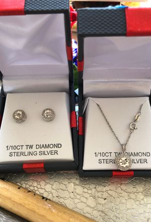 Diamond / sterling earrings and necklace for Sale in Fairland, IN