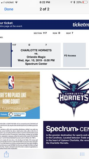 Hornents vs magic for Sale in Charlotte, NC