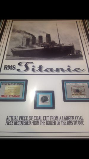 Scarce Authentic Artifact From The Sunkin RMS Titanic Ship- Piece of Coal- W/ COA on Display Piece! for Sale in Fairfax, VA
