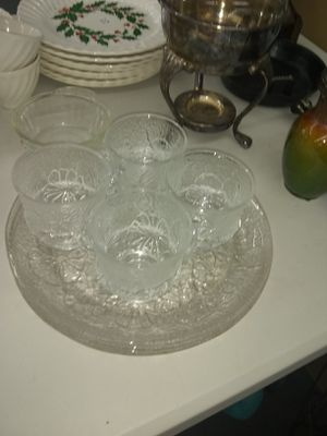 Vintage Snack Set - Flower Design - Glass Plate with Cup - Set of 4 for Sale in Ashland City, TN