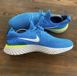 Nike Epic React Flyknit Running Shoes Blue Volt Mens Size 11 for Sale in Glendale, AZ
