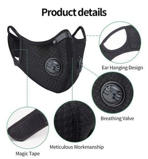 3 pcs face cover face mask with a filter and 2 exhalation valves for Sale in Farmington Hills, MI